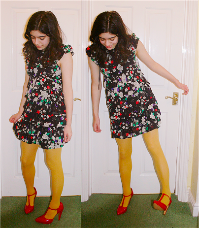 dress, £40, topshop; tights, £5, topshop; shoes, £35, redherring@debenhams
