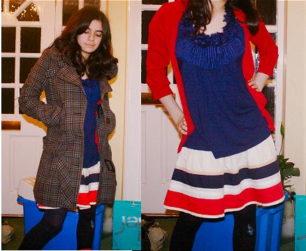 coat, £60, topshop; cardigan, £12, zara; top, £18?, topshop; skirt, £25, topshop